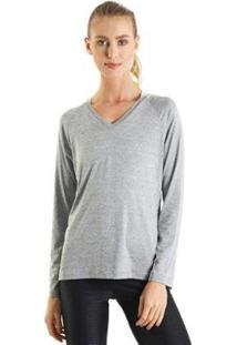 Camiseta Líquido Manga Longa Gola V Feminina - Feminino-Cinza