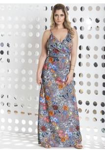 Vestido Longo Floral Com Decote V Transpassado