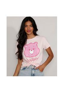 Camiseta Feminina Manga Curta Cropped Ursinhos Carinhosos Com Nó Decote Redondo Rosa Claro