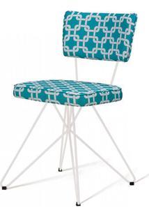 Cadeira Pop Retro Estampa Rolls Azul Base Estrela Branca - 49599 - Sun House