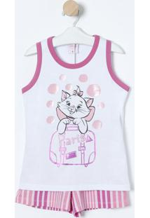 Pijama Paris Marie®- Branco & Rosa Clarolupo
