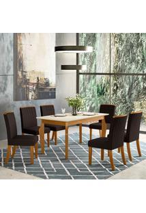 Conjunto De Mesa Com 4 Cadeiras Para Sala De Jantar Florença-Henn - Nature / Off White / Marrom