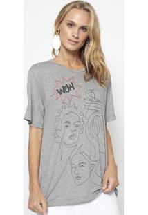 "Camiseta ""Wow""- Cinza & Preta- Evaeva"