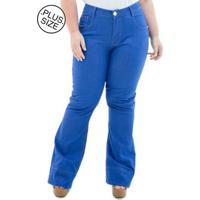 85187f7f1 Calça Jeans Confidencial Extra Plus Size Flare Missy Feminina -  Feminino-Azul