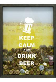 Quadro Porta Tampinhas De Cervejas Keep Calm 22X37Cm Betume