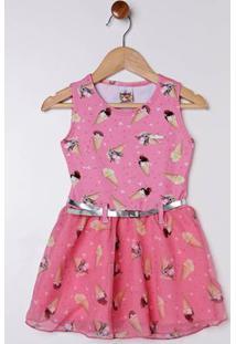 Vestido Com Cinto Infantil Para Menina - Salmão