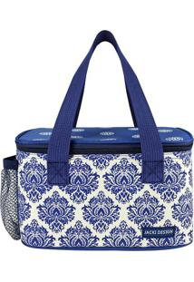 Bolsa Térmica Abstrata- Azul & Branca- 13X21,5X13Cm
