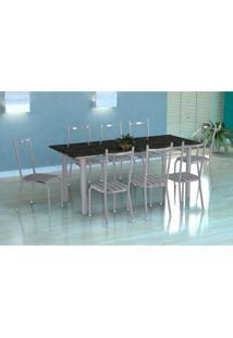 Conjunto De Mesa Cordoba Com 8 Cadeiras Lisboa Branco Prata E Preto Listrado