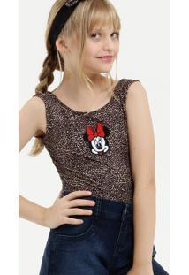 Body Infantil Minnie Estampa Animal Print Brinde Tiara Disney