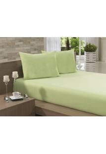 Lençol Casal Elástico Verde Percal 150 Fios - Fassini Têxtil