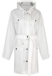 Proenza Schouler White Label Casaco Impermeável Listrado Com Cinto - Metálico