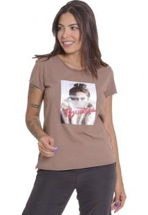 Camiseta T Shirt Le Julie De Algodáo Marrom - Tricae