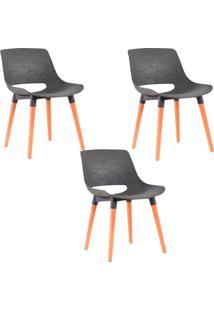 Kit 3 Cadeiras Decorativas Para Salas E Cozinhas Livclean (Pp) Cinza - Gran Belo - Cinza - Dafiti