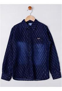 Camisa Jeans Manga Longa Juvenil Azule Masculina - Masculino-Azul