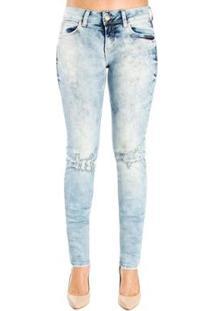 Calça Jeans Destonada Leve Destroyedskinny Detalhe 3D Colcci - Feminino-Azul