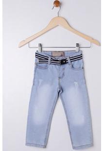 Calça Jeans Com Cinto Infantil Para Menino - Azul