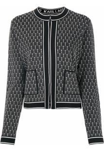 Karl Lagerfeld Jaqueta Slim De Tricô Com Padronagem - Preto