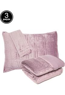Kit Colcha King Corttex Living Art Veludo Com Pesponto 3Pçs Rosa