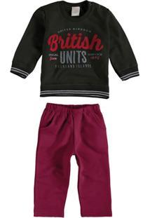 fba2dfe820 Conjunto Moletom Infantil Carinhoso British Masculino - Masculino