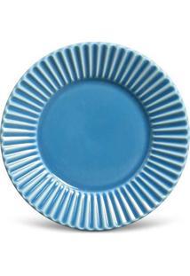 Prato Sobremesa Plissé Cerâmica 6 Peças Azul Porto Brasil