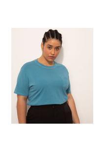 T-Shirt De Algodão Plus Size Com Bolso Manga Curta Decote Redondo Mindset Azul Petróleo