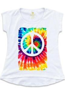 Camiseta Cool Tees Tie Dye Simbolo Da Paz Feminina - Feminino-Branco