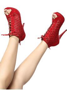 Open Boot Vizzano Lasercut Vermelha