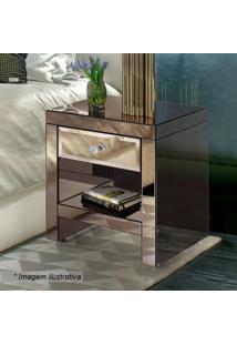 Criado Mudo Elegance Bisotê- Espelhado & Bronze- 57Xrg Móveis