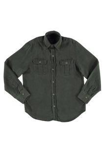 Camisa De Liocel Crawling Jeans Menino Verde Militar - Tam. 04 Ao 08
