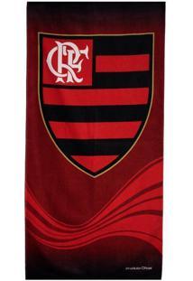 Toalha De Banho Bouton Veludo Flamengo Escudo Vermelha