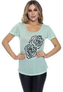T-Shirt Cavallari Bordada A Mão Rosas Canutilho Verde