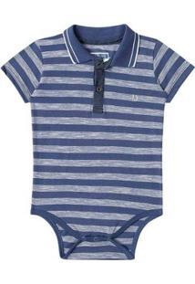 Body Bebê Luc Boo Gola Polo Listras Masculino - Masculino-Azul Escuro