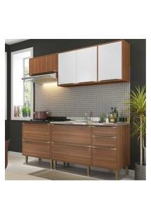 Cozinha Compacta Multimóveis Com 4 Peças Calábria 5459 Nogueira/Branco