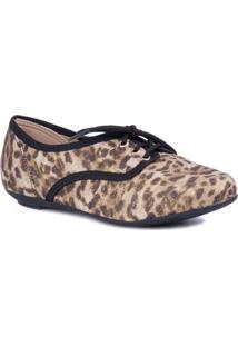 Sapato Com Cadarço Natural - Molekinha - Feminino-Onça