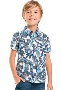 Camisa Infantil Folhas Azul