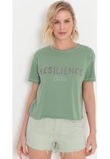 "Camiseta ""Resilience""- Verde & Marrom- Colccicolcci"