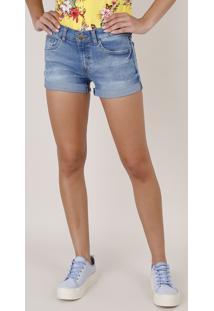 Short Jeans Feminino Reto Com Barra Dobrada Azul Médio