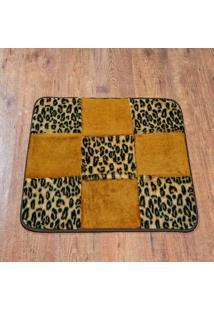 Tapete Dourados Enxovais Retangular Patchwork Leopardo
