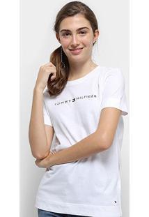 Camiseta Tommy Hilfiger Essential Crew Neck Tee Feminina - Feminino-Branco