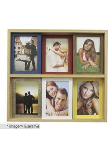 Painel Para 6 Fotos- Marrom Claro & Vermelho- 38X40Xkapos