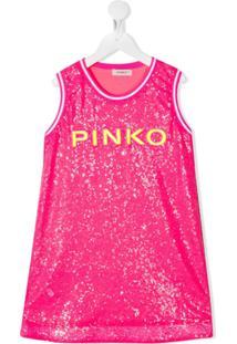 Pinko Kids Vestido Com Bordado De Paetês - Rosa