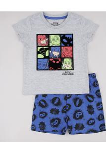 Pijama Infantil Pj Masks Manga Curta Cinza Mescla