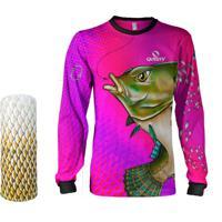 33f805f3cb Camisa Máscara Pesca Quisty Tilápia Bocuda Rosa Proteção Uv Dryfit Infantil Adulto  - Camiseta De