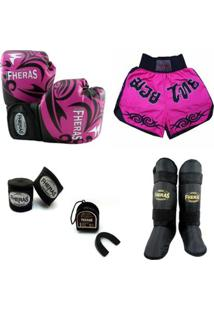 Kit Muay Thai - Luva Shorts Bucal Bandagem Caneleira - 08 Oz Tribal Rosa - Unissex