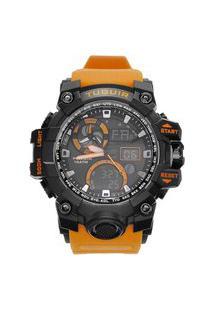 Relógio Masculino 10Atm Analógico E Digital Tg108 Preto E Laranja