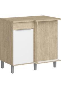 Balcão De Cozinha 1 Porta Cs603P Acácia/Branco - Decibal Móveis