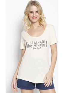 "Camiseta ""Sustainable"" Com Linho - Ros㪠& Preta - Cocolcci"