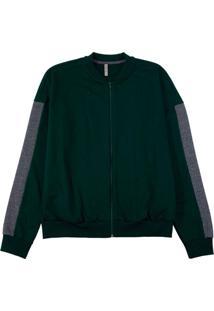 Jaqueta Em Moletom Com Bolso Verde