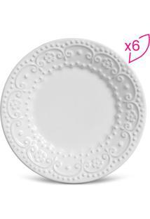 Jogo De Pratos Para Sobremesa Esparta- Branco- 6Pçs