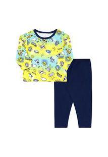 Pijama Bebê Masculino Meia Malha Camiseta Manga Longa Espaço E Calça Azul Marinho (1/2/3) - Kappes - Tamanho 3 - Amarelo,Azul Marinho